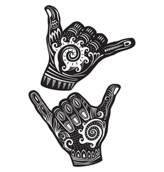 Shaka surf hand sign vector image