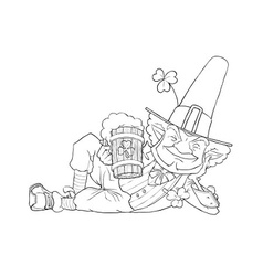 Elf leprechaun with beer for vector