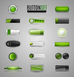Set of green buttons for web app infographic vector
