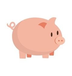 Cute pink piggy money safety bank vector