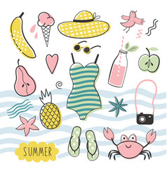 Big summer set vector