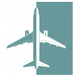 Silhouette of airplane top view vector