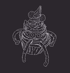 Monster cupcake spooky for halloween sketch vector