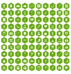 100 diagnostic icons hexagon green vector