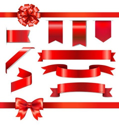 Red bow with ribbons set vector