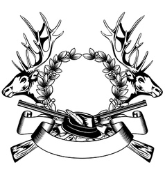 Elk heads crossed rifle hat and oak wreath vector