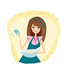Beautiful lady cooking cake vector image