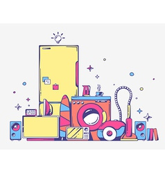Large pile of bright household appliances vector
