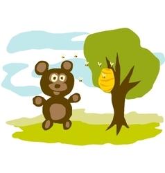 Hungry bear eats honey vector