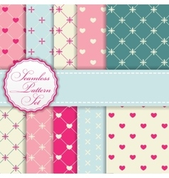 Romantic seamless pattern background set vector