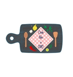 Cooking in kitchen top view banner text space vector
