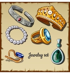 Postcard set of jewelry made stones six icons vector