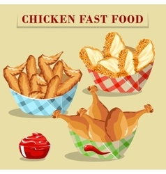 Chicken products set vector