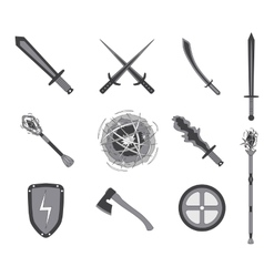 Game rpg weapons icons set vector