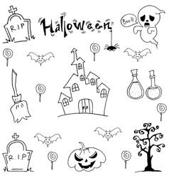 Black white halloween doodle art vector