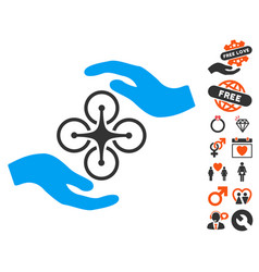 Air copter care hands icon with dating bonus vector