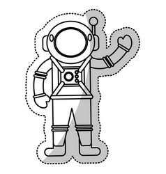 astronaut space suit helmet outline vector image