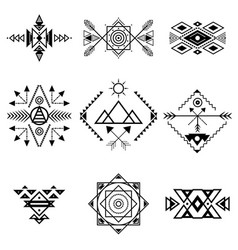 aztec style ornament black thin line icon set vector image vector image