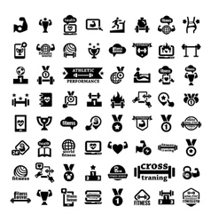 big fitness icons set vector image