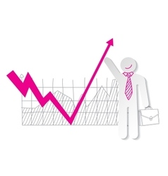 Businessman holding falling down graph line and vector image vector image