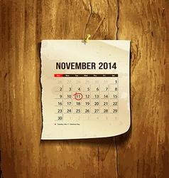 Calendar November 2014 vector image vector image