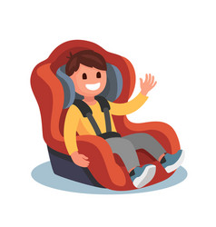 Child sits in a red car seat vector
