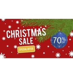 Christmas Sale with christmas ball 70 percent vector image vector image