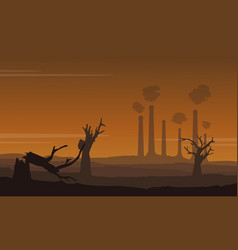 Damaged forest with many industry construction vector