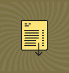 Document download icon simple line cartoon vector
