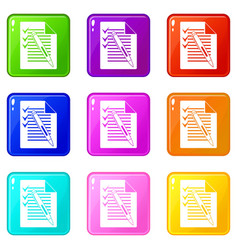 Document with plan and pen icons 9 set vector