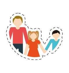 family parent son daughter cut line vector image