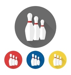 Flat bowling skittles icons vector