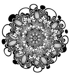 Flower ornament black and white4 vector