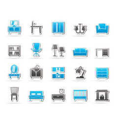 furniture and home equipment icons vector image vector image