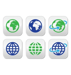 Globe earth buttons in color vector image
