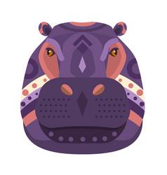 Hippopotamus head logo decorative emblem vector