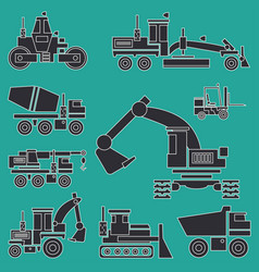 Line flat icon construction machinery set vector