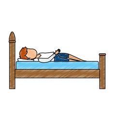 Man sleeping on the bed vector