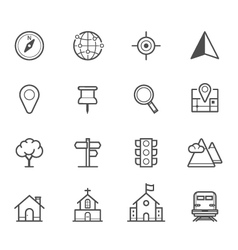 Map icons and Location icons vector image vector image