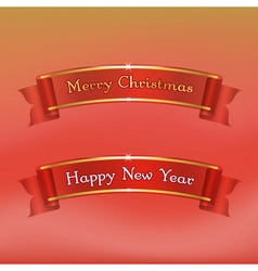 Merry Christmas Happy New Year ribbons vector image