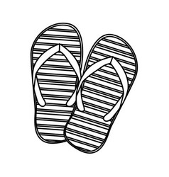 Monochrome silhouette of beach flip-flops vector