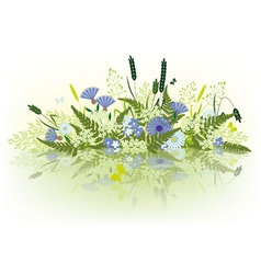 Prairie grass and flowers vector