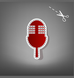 Retro microphone sign red icon with for vector