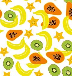 Seamless pattern with banana papaya kiwi carambola vector image