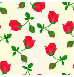 Seamless texture red rosebud stem with leaves vector