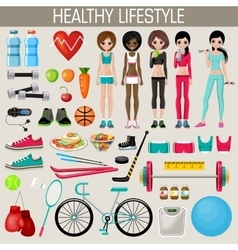 Set of healthy lifestyle elements vector image vector image
