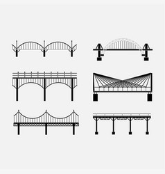 Set of silhouette bridge icons bridges suspension vector