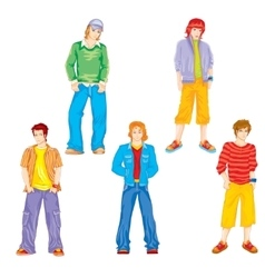 set of teenagers vector image vector image