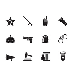 Silhouette police and crime icons vector image vector image