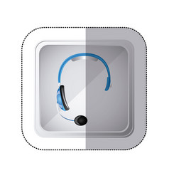 Sticker silver square button with blue headphones vector